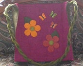 Handbag - Felt Mod Flowers, Hot Pink Bag with Velvet Butterflies - Felted Tote Magenta with Flowers - Back to School