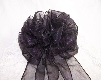 Sparkle Black Deep Purple Bow Handmade Batchelorette Decoration Wreath Pew Autumn Halloween Goth Fall Party Ribbon Wedding