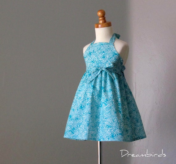 LAST ONE - Girls Turquoise Halter Sun Dress - White Flowers on Turquoise - Sizes 3T Only