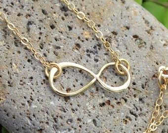 Infinity Necklace - golden bronze infinity sign and 14k gold filled delicate chain - Eternal - Endless -Forever - free shipping USA