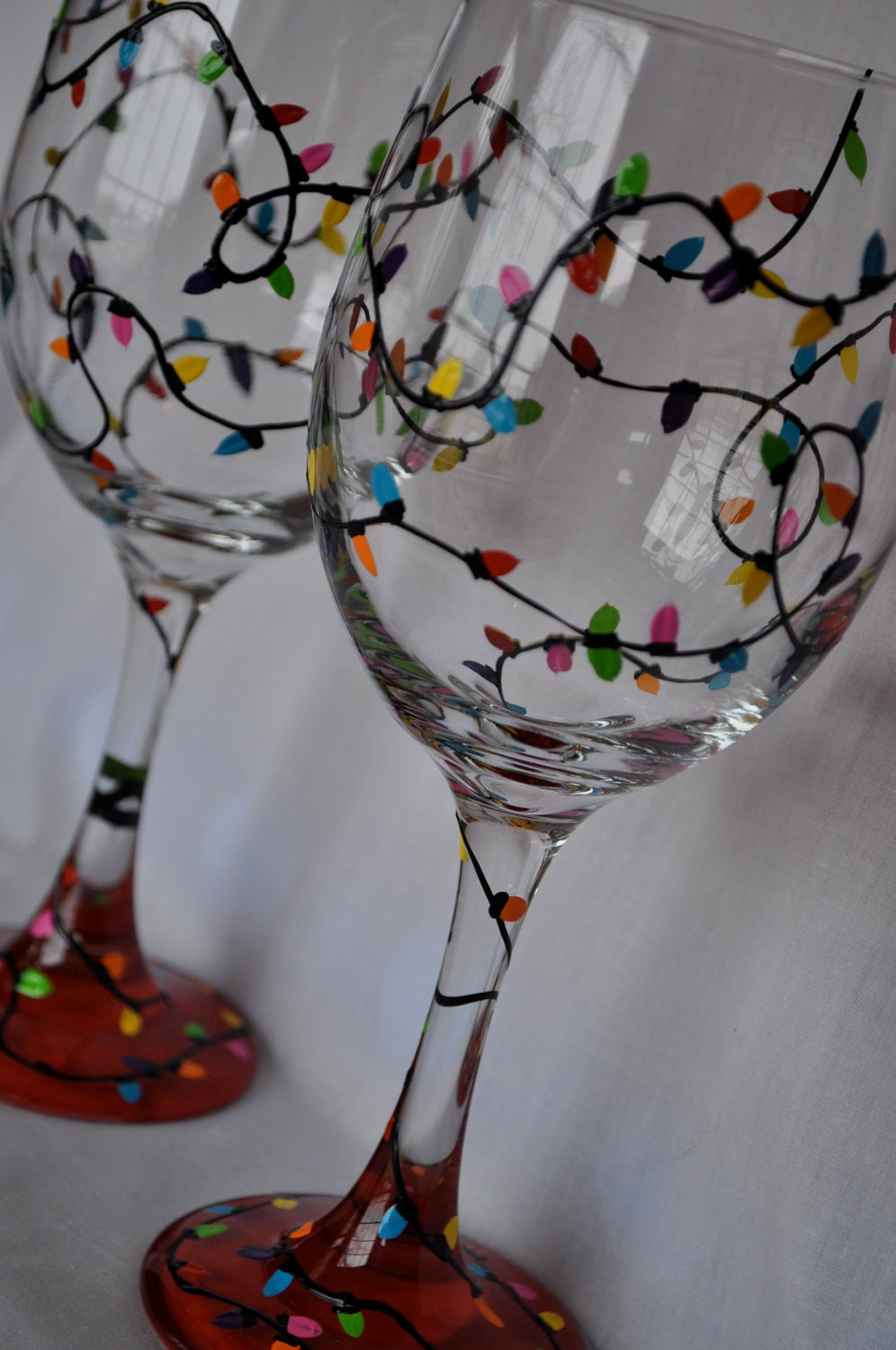 Hand Painted Christmas Lights Wine Glass Pair