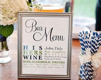 Custom Listing for andreakristin13 - Bar Menu for Wedding Receptions - Modern & Customizable - DIY Digital File