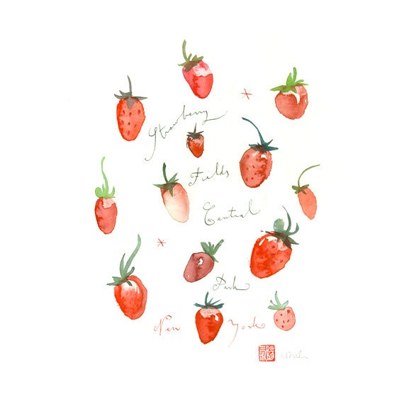 Strawberry fields, New York City, Original watercolor painting, kitchen art, fruit painting, food, botanical, red