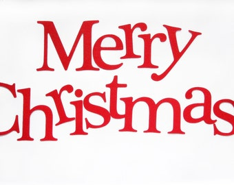 Die Cut Letters, Merry Christmas Die cut Letters, letters for Banner, (3.5 inches tall), Red Textured Cardstock, holiday cut letters, A237
