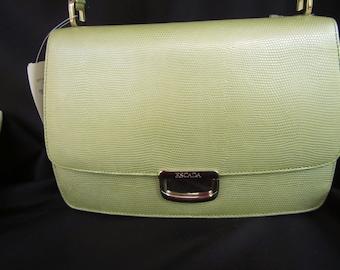 ESCADA Kelly Handbag /  Reptile Embossed Leather Handbag/ Shoulder bag Purse/ Pearl Lime Green NWT 575.