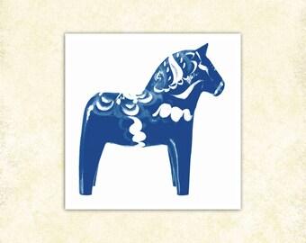 Swedish Dala Horse art print, blue and white, Svergie