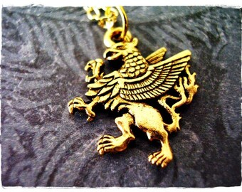 Gold Griffin Necklace - Antique Gold Pewter Griffin Charm on a Delicate Gold Plated Cable Chain or Charm Only