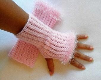 Crochet Fingerless Gloves Pink with Eyelash Trim