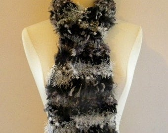 Crocheted Womens Multi Colored Scarf in Black Gray Silver and White