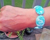 TURQUOISE bracelet stone blue silver white spotted boho teal birthday chunky for her big large beaded beadwork oval bridesmaids wedding