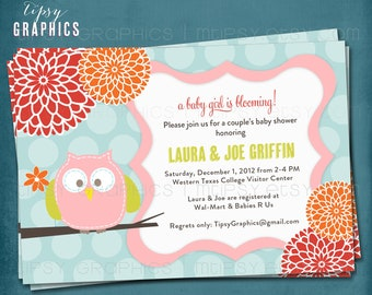 Baby Girl is Blooming. Owl Polka Dot Mum. Baby Shower Invite by Tipsy Graphics