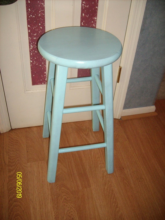 Turquoise Painted Distressed Wood Bar Stool By
