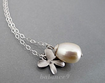 Pearl Orchid Necklace, flower necklace, Sterling Silver chain, ivory white, drop pendant, dainty charm jewelry, wedding gift, by balance9