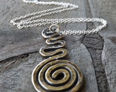 Spiral Pendant Necklace, Sterling Silver Spiral Necklace,Textured Necklace, Oxidized Necklace on Etsy.