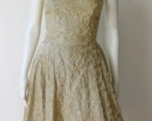 Stunning Vintage 1950's Pale Blue and Cream Silk Ribbon Dress