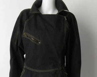 Chic 1980's French Black Denim Zipper Jacket