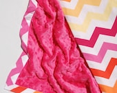 Chevron Baby Blanket with Fuchsia Minky - Chic Chevron in Sun by MIchael Miller - Ready to Ship