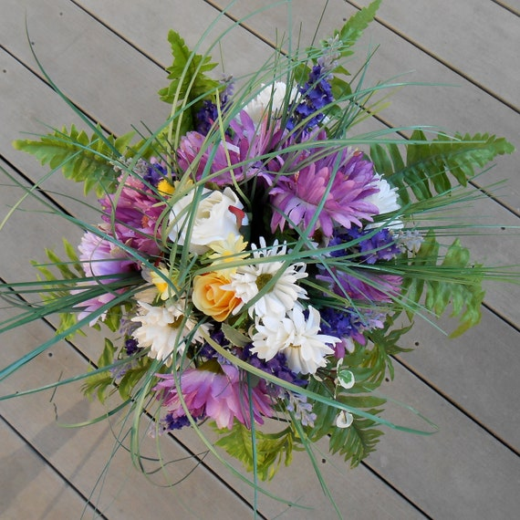 MEADOW MEDLEY Mixed Wildflower and Gerbera Rustic Country Garden Bridal Wedding Bouquet and Bout ready to ship