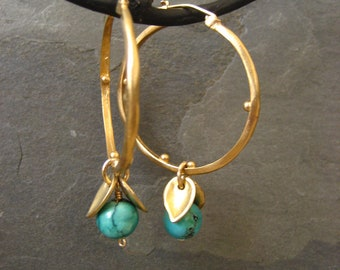 Chinese turquoise and gold leaf hoop earrings