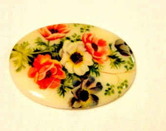 Cabochon - 4 RARE Vintage (1940s) Red and White Poppies Cabochon 30x40MM