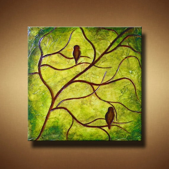 SALE 30% OFF  Birds in Tree Abstract Painting -- Engraved and Textured -- 24 x 24 -- Sleepy Hollow Silhouettes -- by Britt Hallowell