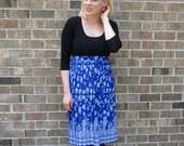 Blue Pleated Skirt, Midi Skirt, Paisley Skirt, Royal Blue