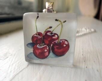 Cherry Art Necklace - Glass Tile Pendant Necklace - Wearable Watercolor Art
