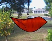 Stained Glass Orange Bird Suncatcher with Copper Wire Feathers - Smaller Size