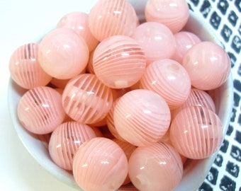 6x 16mm Resin Stripe Globe beads in Peach Pink, Transparent and White