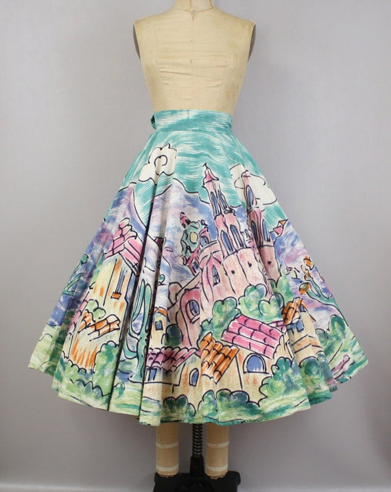 Vintage 1950s Circle Skirt Hand Painted Tourist Swing Skirt, City in the Sun