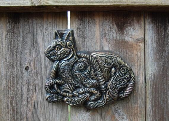 Cat Art, Kitty Garden Stone Art Sculpture, Kitten Wall Plaque, Animal Charity Donation