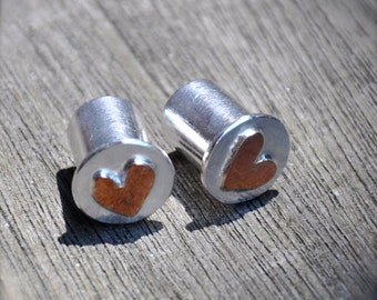 0 Gauge Warm Hearts Copper and Silver Plugs- made to order