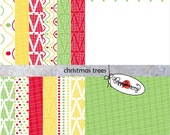 Christmas Trees: Digital Scrapbook Paper Pack (300 dpi) Fourteen digital papers ACEO Collage Art Mixed Media Backgrounds