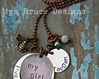 hand stamped, personalized mixed metal - my girl, i've got sunshine, with name