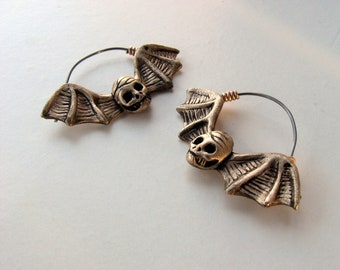 Bat skull titanium hoop earrings