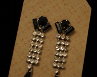 Vintage Black and Clear Rhineston Earings