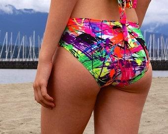 Womens Neon Print Bikini Bottom