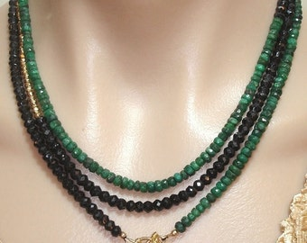 MADE-to-ORDER:  Ashira Black Spinel and Natural Green Emerald, Gold Pyrite Gemstone Necklace with Charms One of a Kind
