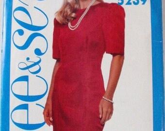 Misses/Misses Petite Fitted Dress - Butterick 5239 - Sizes 12-14-16, Bust 34 - 38, Uncut