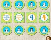 PRINTABLE Personalized Boy Penguins Party Circles #708
