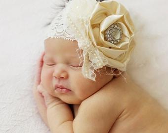 Vintage inspired Ivory satin lace headband,chiffon netting,cream feather headband-newborn, baby,girl headband-photo prop-flower girl- bridal