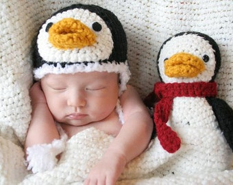 Crochet Newborn Penguin Gift Set (Newborn Size Hat & Stuffed Animal)