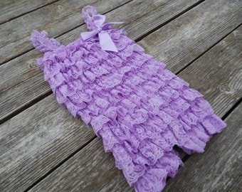 Lavender Petti Romper, Lace Romper, Baby Romper, Photography Prop, Birthday Outfit, Pettiromper, Ruffle Romper, Shabby Chic, Baby, Girls
