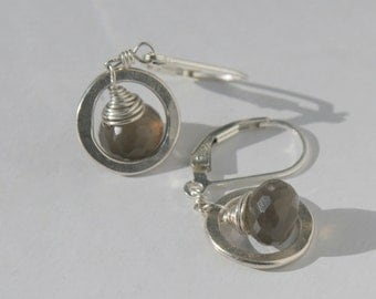 Smokey Grey Moonstone Circle Earrings, Bridal Jewelry, Bridesmaid Gifts