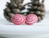 60% OFF SALE! Red Earrings. White Earrings. Nordic Jewelry. Red Scandinavian. Ugly Christmas Sweater. Post Earrings. Studs. Tiny Jewellery.