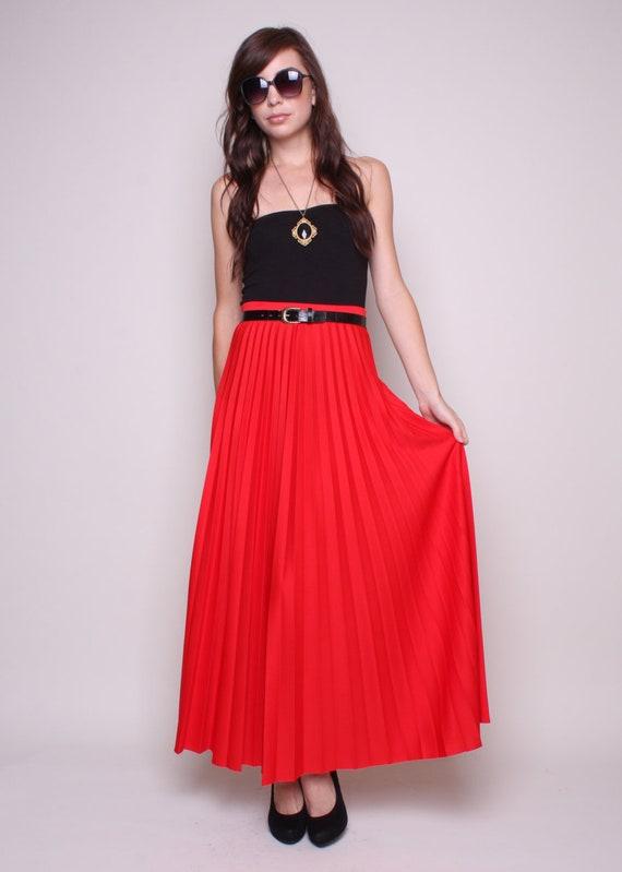 70s maxi skirt skirt pleated maxi skirt high