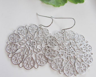 Silver Filigree Earrings, Heart and Flower Design, Round, Iron Stamp Pattern, Gift for her, Bridesmaid Earrings, Everyday Wear, Lightweight