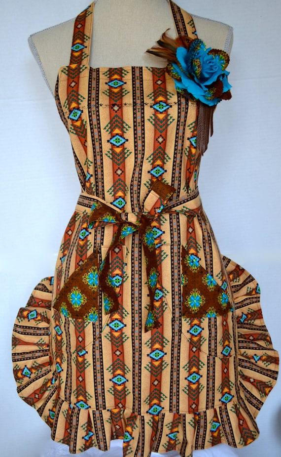 Womens Full Ruffled Southwest Sedona Style Apron With Rose Pin Feathers
