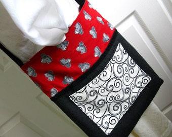 Tote Bag, Zipper Pocket Tote, Squirrels, Red and Gray, Shoulder Bag