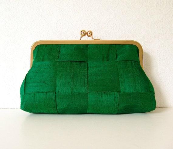 Clover green evening bag in gold frame, woven silk formal clutch purse